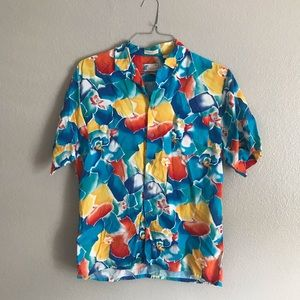 Vintage Colorful Print Short Sleeve Button Up